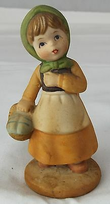 Napco Figurine Pilgrim Girl With Basket of Food Goodies Porcelain Collectable