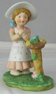 "Country Cousins ""Spring"" Figurine Girl with Nest of Birds Porcelain Napcoware"