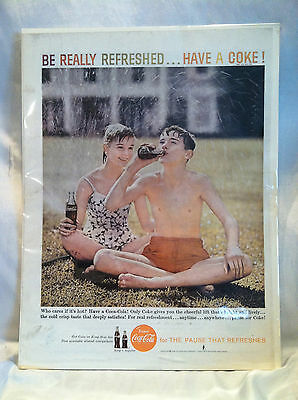 Vintage1959 Coca Cola Teens Sitting Grass Sprinkler Water Be Really Refreshed ad