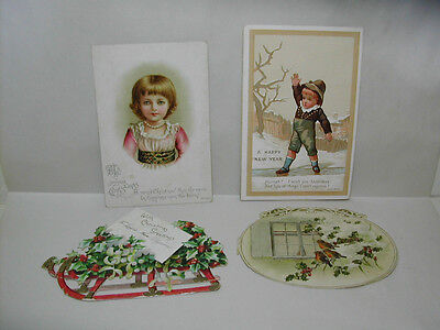 Vintage Victorian Cards Christmas Greetings & Gift Card Also New Years Greeting