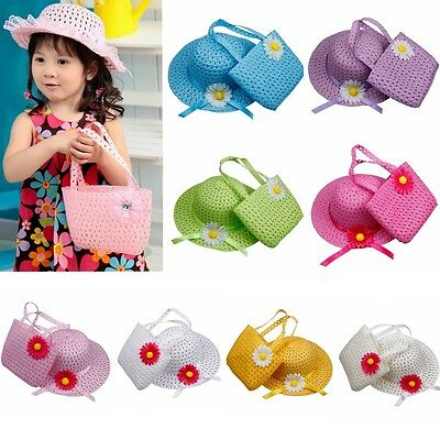 Cute Baby Girl Kids Straw Flower Sun Cap Child Beach Summer Hat + Handbag Set
