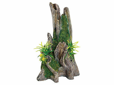 Tree Trunk with Plants Aquarium Ornament Reptile Vivarium Decoration