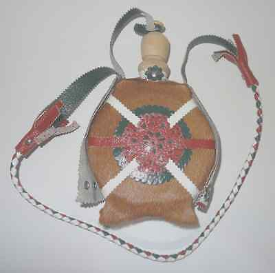 Native American Indian Canteen Leather Fur Flask Multi-Colored Decorative