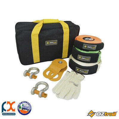 Oztrail 7pc Recovery Kit Bow Shackle Snatch Strap Win Block