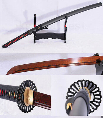"41""Black&Red Folded Steel Full Tang Blade Japanese Samurai Samurai Sword Katana"