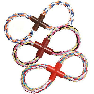 Pet Puppy Dog Cotton Braided Rope Chew Tug Knot Playing Fetch Funny Toy