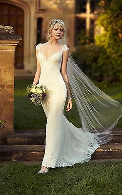 White/Ivory Lace Bridal Gown Backless Wedding Dress Custom Size 6 8 10 12 14 16+