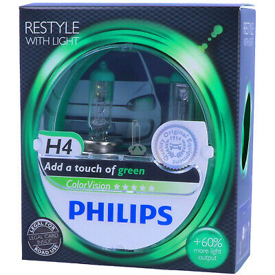 H4 PHILIPS ColorVision GRÜN - Styling - Scheinwerfer Lampe DUO-Pack-Box NEU