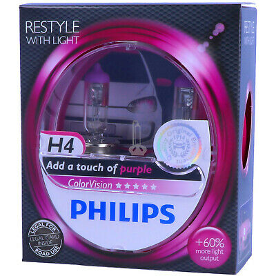 H4 PHILIPS ColorVision PINK - Styling - Scheinwerfer Lampe DUO-Box NEU