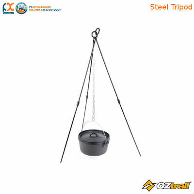 Oztrail Adjustable Steel Tripod For Camping Cooking Outdoor