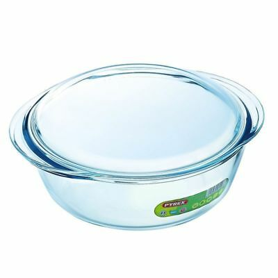 Pyrex 2.3L Round Casserole Bake Glass Dish Scratch Resistant Kitchen Cooking