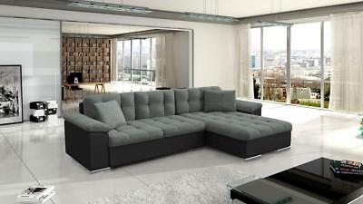 New Avellino Leather & Fabric Corner Sofa With Bed + Storage In Black Grey White