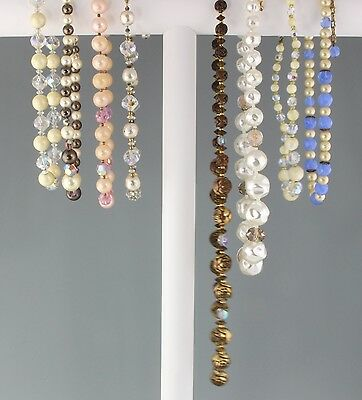 Vintage 1950-1960 Mixed Lot of 8 Single Strand Crystal Glass Bead Necklaces