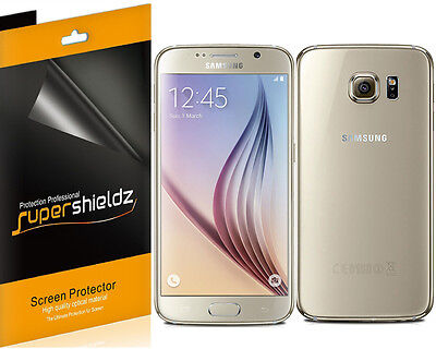 3x Supershieldz for Samsung Galaxy S6 (Front + Back) Clear Screen Protector