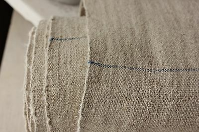 Antique WASHED linen 10.4 yards BLUE stripe HEAVY upholstery fabric 23.5 WIDE