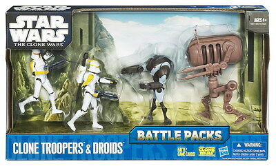 STAR WARS THE CLONE WARS BATTLE PACK- CLONE TROOPERS AND DROIDS- NEW MISB