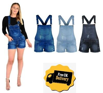 Women's Stretch Denim Jeans Ladies Girls Shorts Dress Jumpsuit Playsuit Dungaree