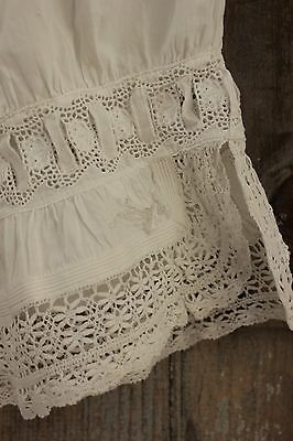 Antique French off- white cotton bloomers with lace BEAUTIFUL