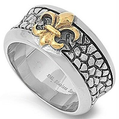 Stainless Steel Yellow Gold IP Black Plated Fleur De Lis Sign Ring Sizes 8-16