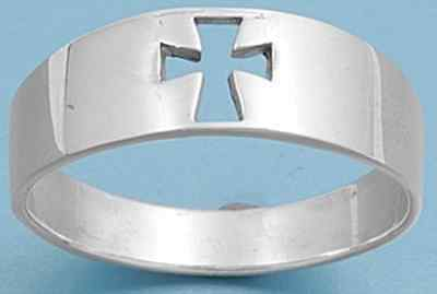 925 Sterling Silver Open Cut Chopper Cross Comfort Fit Wide Band Ring Size 3-13
