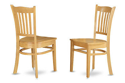 SET OF 2 KITCHEN DINING CHAIRS WITH PLAIN WOOD SEAT IN OAK FINISHED