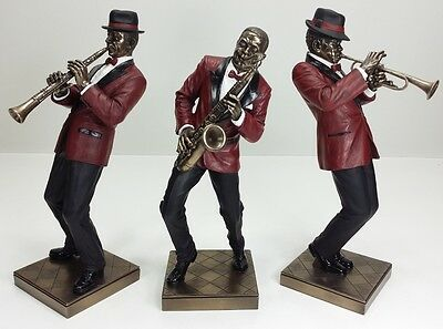 3PC SET JAZZ BAND COLLECTION SAXOPHONE TRUMPET CLARINET PLAYER Statue Sculpture