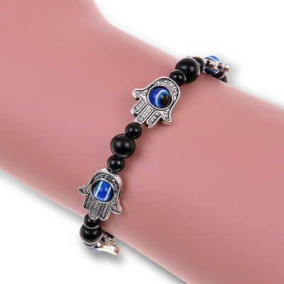 Fashion Womens Hamsa Fatima Hand Evil Eye Beaded Charm Tibetan Silver Bracelet