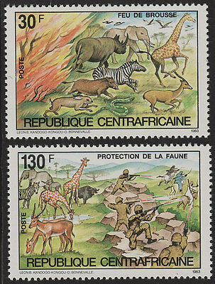 Central African Republic 1983 protection of animals MNH.