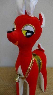 NR MINT Vtg 1950-60s Large BIG EYE Red Velveteen REINDEER Japan GOLD Trim 12""