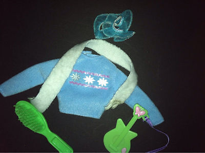 Barbie Doll Winter Lot Shirt Scarf Hair Tie Guitar Lot of 5 items Outfit