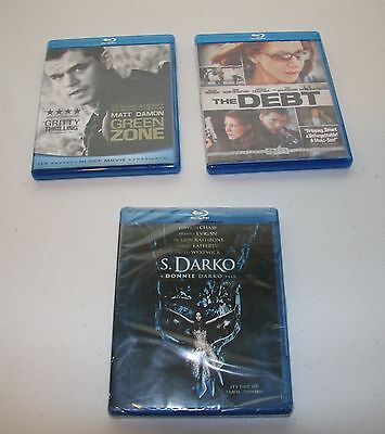 Mixed Lot Blu-Ray Movies Debt S. Darko (new) Green Zone LOT OF 3 In cases