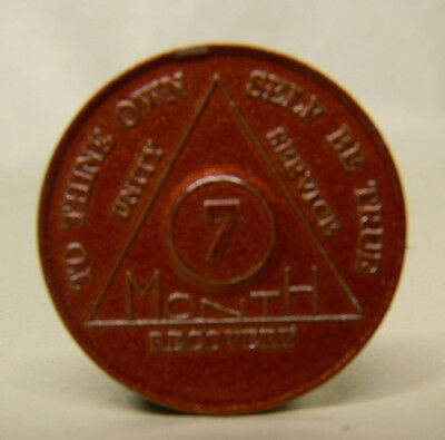 alcoholics anonymous 7 month anniversary medallion chip token