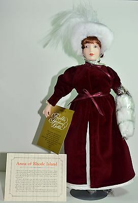 Franklin Mint Heirloom Porcelain Doll-Maids of the 13 Colonies ANNA-RHODE ISLAND
