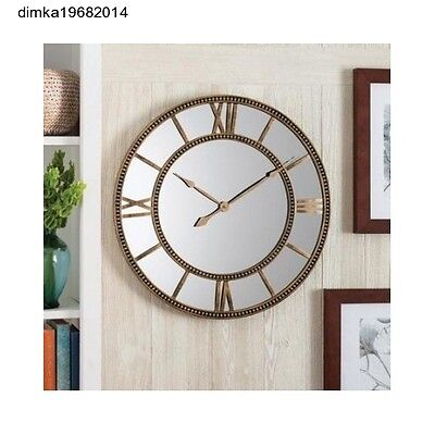 Wall Clock Gold Distressed Round Large Design Oversized Antiqued Roman Numerals
