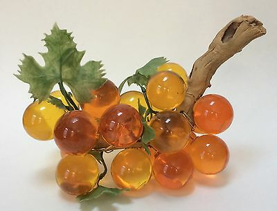 Vintage Orange Yellow Lucite Cluster Of Grapes On Driftwood Mid-Century Modern