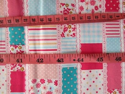 Collar Stamps MIXED Design,Tiny Pink Flower Blue Strip Cotton Fabric 50x50 cm FQ