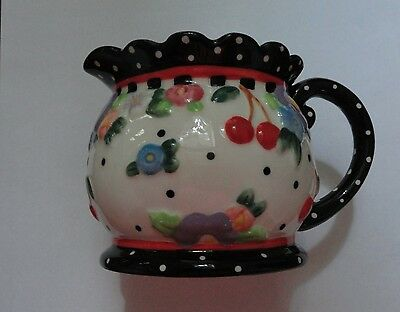 "Mary Engelbreit ""Oh So Breit"" Creamer 2000 ME Michel & Co Cherries and Polka Dot"