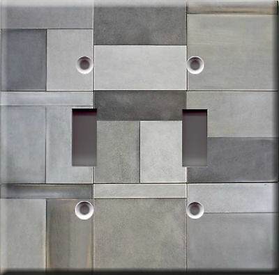 Light Switch Plate Cover - Ceramic tile grey faux finish - Home decoration look