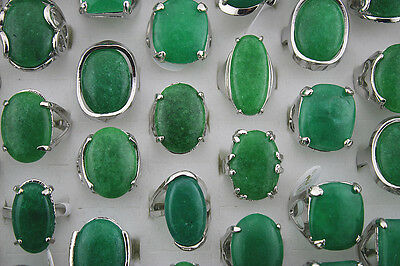 Lots 10pcs nature Jade gemstone huge Lady's silver plated charm ring jewelry L93