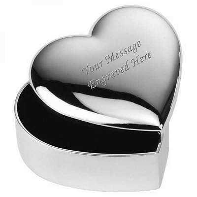 Personalised Engraved Heart Shaped Silver Plated Jewellery Trinket Box (XAC33)