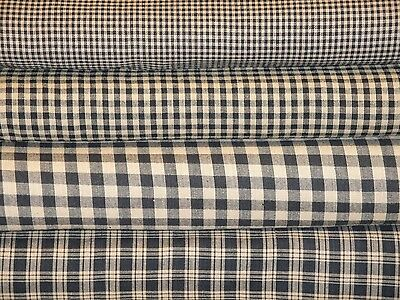 Black And Tan Check Plaid Farmhouse Rustic Cabin Country Cotton Homespun Fabric