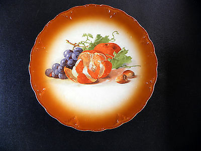 "PETRUS REGOUT DECORATIVE PLATE 9.5"" ORANGE GRAPES MADE IN MAASTRICHT HOLLAND"