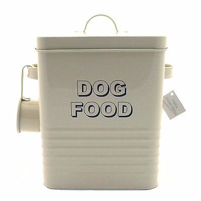 Dog Food Storage Container Tin Box & Scoop Cream Metal Ideal Dry Food Biscuits