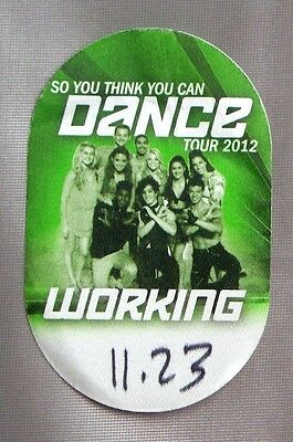 So You Think You Can Dance 2012 Tour Local Crew Satin Backstage Pass