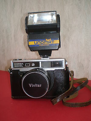 Russian 35mm camera SOKOL 2  with lens INDUSTAR-70, 2.8/50mm and flash - rare