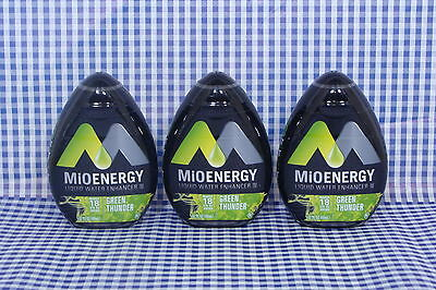 3 Mio Energy Liquid Water Enhancer GREEN THUNDER 54 Servings Total DRINK MIX