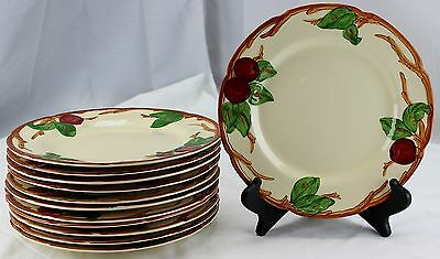 "Vintage Franciscan Apple Dinner Plate Set Lot of 12 10 5/8"" USA"
