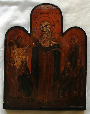 RARE Antique Russian Icon  Hand-Painted Enamel , MARY WITH 6 SAINTS circa 1750
