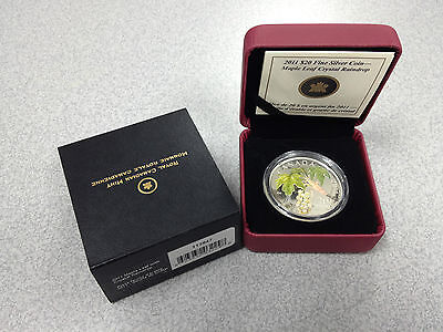 2011 Royal Canadian Mint $20 Silver Coin: Maple Leaf with Crystal Raindrop