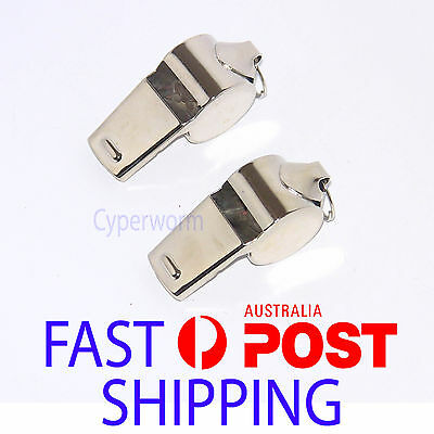 2X Referee Whistle Metal Chrome Sports Outdoor Camping